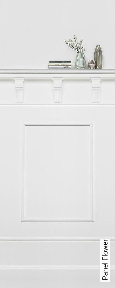 Panel-Flower-Vertäfelung-FotoTapeten-Weiß