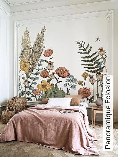 Panoramique-Eclosion-Blumen-Tiere-Blätter-Fauna-Florale-Muster-FotoTapeten-Multicolor