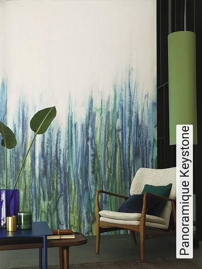 Panoramique-Keystone-Gras-Florale-Muster-FotoTapeten-Blau-Türkis-Creme
