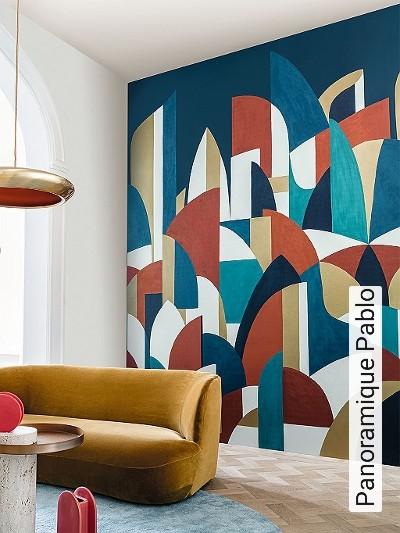 Panoramique-Pablo-Graphisch-Moderne-Muster-FotoTapeten-Grafische-Muster-Rot-Gold-Anthrazit-Türkis-Creme