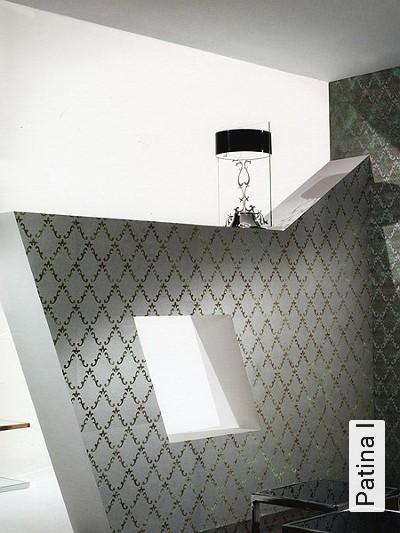 Patina-I-Ornamente-Metallic-Moderne-Muster-Textil-&-NaturTapeten-Silber-Braun-Bronze
