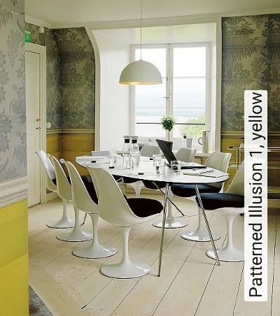 Patterned-Illusion-1,-yellow-Ornamente-Vertäfelung-Moderne-Muster-Grau-Gelb-Creme