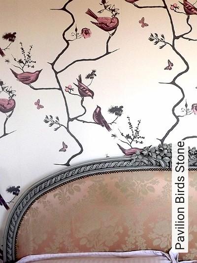 Pavilion-Birds-Stone-Tiere-Bäume-Moderne-Muster-Rosa-Anthrazit-Creme