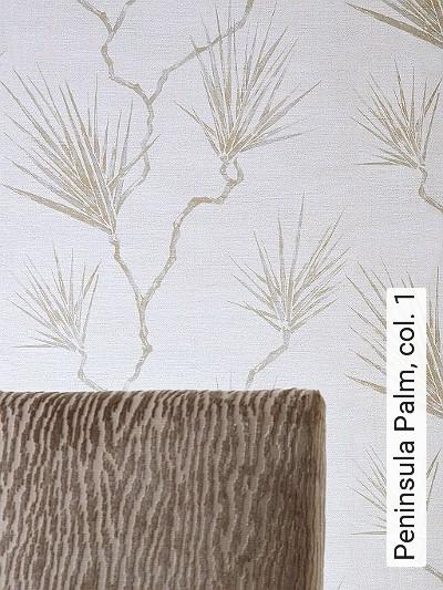 Peninsula-Palm,-col.-1-Äste-Florale-Muster-Silber-Creme-Hellbraun