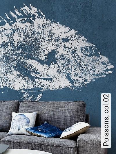 Poissons,-col.02-Fische-Moderne-Muster-FotoTapeten-Blau-Weiß