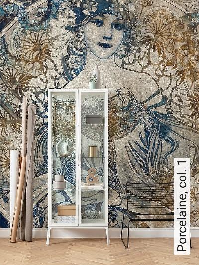 Porcelaine,-col.-1-Blumen-Figuren-Gesichter-Jugendstil-Klassische-Muster-FotoTapeten-Jugendstil-Multicolor