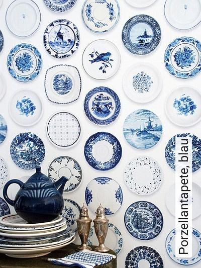 Porzellantapete,-blau-Teller-Moderne-Muster-FotoTapeten-Blau-Weiß