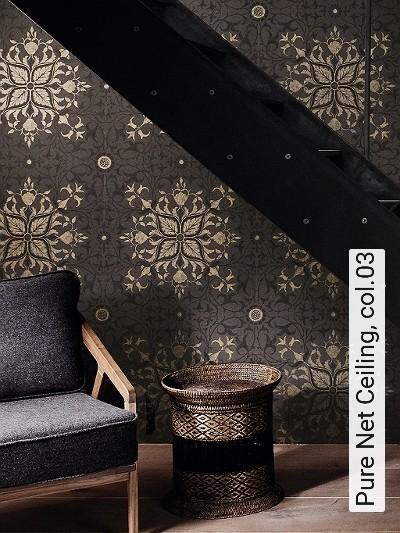 Pure-Net-Ceiling,-col.03-Ornamente-Jugendstil-Klassische-Muster-Jugendstil-Anthrazit-Schwarz