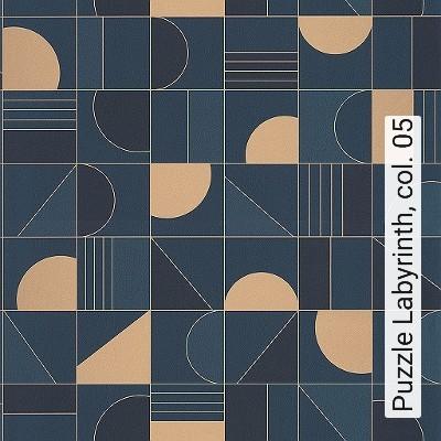 Puzzle-Labyrinth,-col.-05-Kreise-Graphisch-Grafische-Muster-Art-Deco-Blau-Gold-Grau