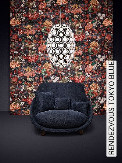 RENDEZVOUS-TOKYO-BLUE-Blumen-Tiere-Blätter-Äste-Fauna-Florale-Muster-Moderne-Muster-Multicolor