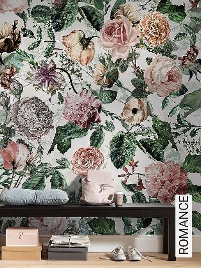 ROMANCE-Blumen-Blätter-Florale-Muster-FotoTapeten-Multicolor