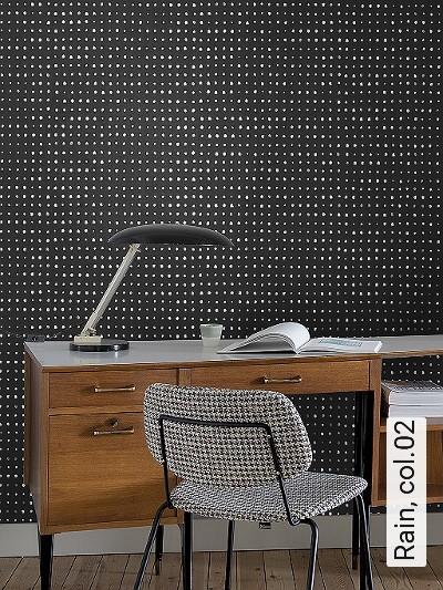 Rain,-col.02-Punkte-Moderne-Muster-Silber-Braun-Schwarz-Weiß