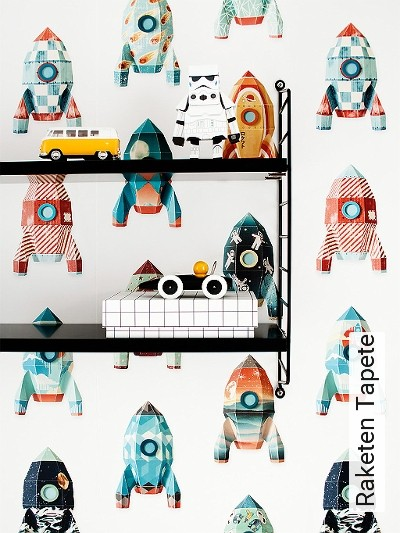 Raketen-Tapete-Flugzeuge-KinderTapeten-Weiß-Multicolor