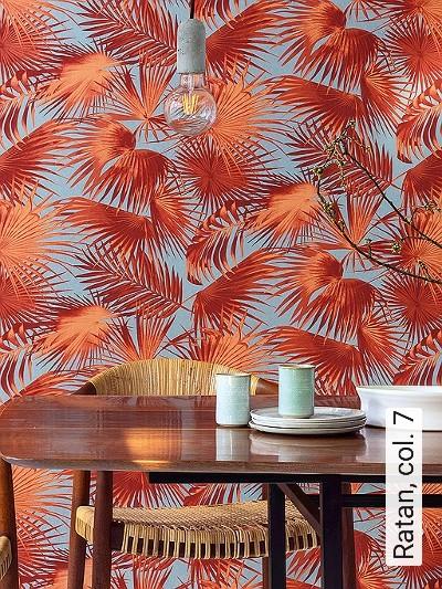 Ratan,-col.-7-Blätter-Florale-Muster-Moderne-Muster-Rot-Orange