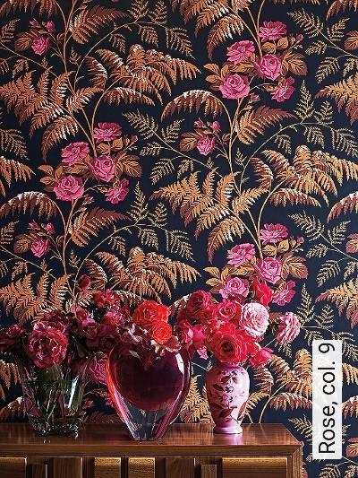 Rose,-col.-9-Blumen-Blätter-Äste-Florale-Muster-Rot-Braun-Schwarz