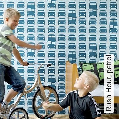 Rush-Hour,-petrol-Fahrzeuge-KinderTapeten-Türkis-Hellblau