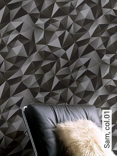 Sam,-col.01-Dreiecke-3D-Tapeten-Grafische-Muster-Grau-Anthrazit-Schwarz