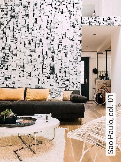 Sao-Paulo,-col.-01-Gebäude-Moderne-Muster-FotoTapeten-Schwarz-Creme