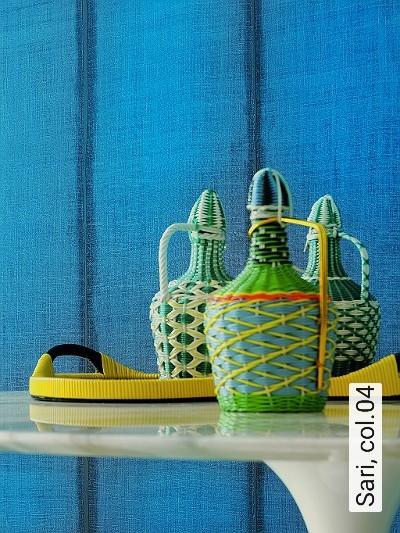 Sari,-col.04-Streifen-Stoff-Moderne-Muster-Türkis-petrol