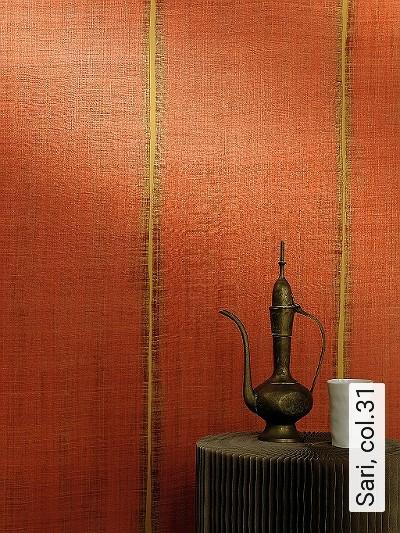 Sari,-col.31-Streifen-Stoff-Moderne-Muster-Rot-Orange