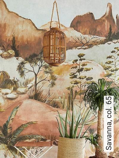Savanna,-col.-65-Bäume-Landschaft-Blätter-Berge-Florale-Muster-FotoTapeten-Multicolor