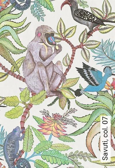 Savuti,-col.-07-Tiere-Vögel-Fauna-Florale-Muster-Creme-Multicolor