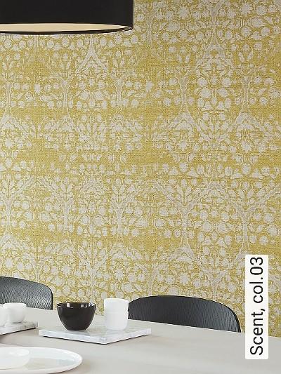 Scent,-col.03-Ornamente-Stoff-Klassische-Muster-Gelb-Creme