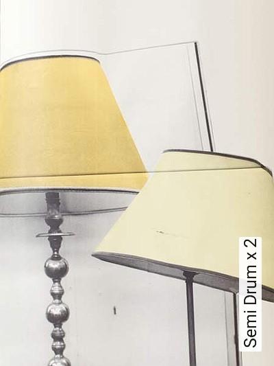 Semi-Drum-x-2-Lampe-Moderne-Muster-Grau-Gelb-Anthrazit-Creme