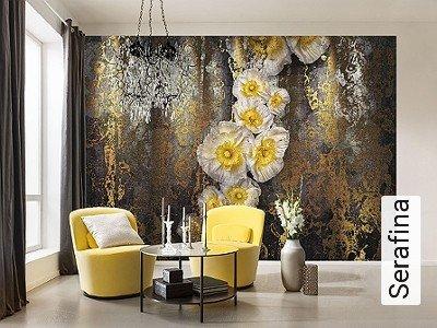 Serafina-Blumen-Patina-FotoTapeten-Gold-Braun-Anthrazit-Weiß