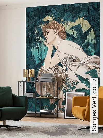 Songes-Vert,-col.-7-Blätter-Figuren-Gesichter-Jugendstil-Klassische-Muster-FotoTapeten-Jugendstil-Multicolor