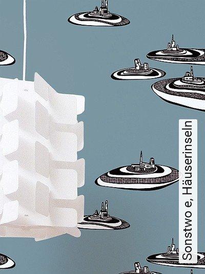 Sonstwo-e,-Häuserinseln-Landschaft-Kunst-Gebäude-Moderne-Muster-FotoTapeten-Blau-Schwarz-Weiß