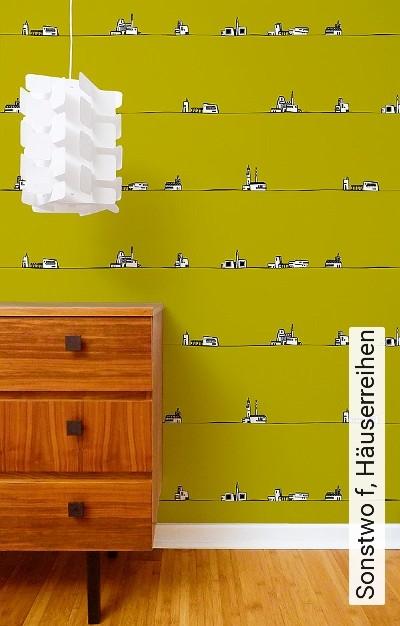 Sonstwo-f,-Häuserreihen-Landschaft-Kunst-Gebäude-Moderne-Muster-FotoTapeten-Grün-Schwarz-Weiß