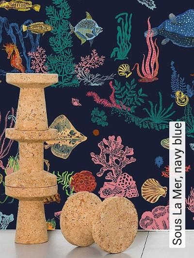 Sous-La-Mer,-navy-blue-Unterwasserwelt-Fische-FotoTapeten-Blau-Multicolor