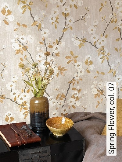 Spring-Flower,-col.-07-Blumen-Tiere-Blätter-Vögel-Fauna-Florale-Muster-Multicolor