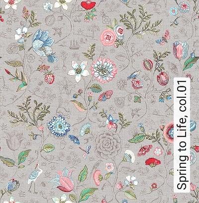 Spring-to-Life,-col.01-Blumen-Vögel-Florale-Muster-Grau-Braun-Multicolor