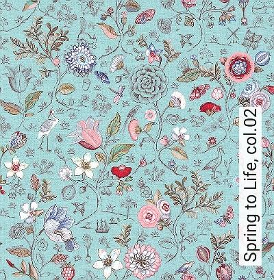 Spring-to-Life,-col.02-Blumen-Vögel-Florale-Muster-Braun-Multicolor-mint