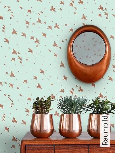 Star-ling,-pale-verdigris-&-copper-Vögel-Sterne-Moderne-Muster-Bronze-mint