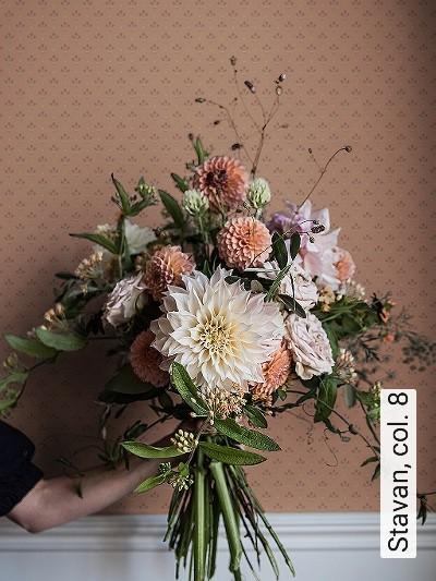 Stavan,-col.-8-Ornamente-Blumen-Klassische-Muster-Gold-Braun-Hellbraun