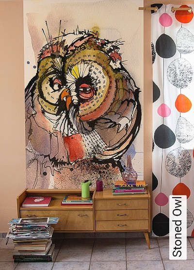 Stoned-Owl-Vögel-Zeichnungen-Aquarell-FotoTapeten