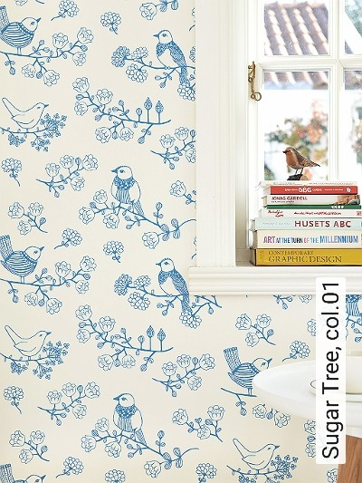 Sugar-Tree,-col.01-Blumen-Vögel-Moderne-Muster-Blau-Weiß