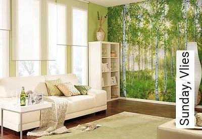 Sunday,-Vlies-Bäume-FotoTapeten-Grün-Braun-Weiß