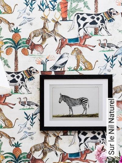 Sur-le-Nil-Naturel-Blumen-Tiere-Bäume-Landschaft-Fauna-Moderne-Muster-Multicolor