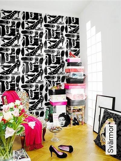 Svärmor-Kleidung-Schuhe-Moderne-Muster-Schwarz-Weiß