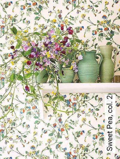 Sweet-Pea,-col.-2-Blumen-Äste-Florale-Muster-Multicolor