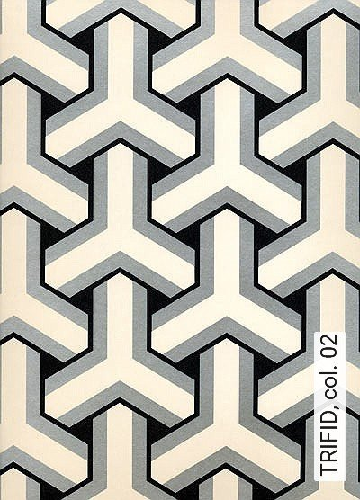 TRIFID,-col.-02-Ornamente-Rauten-Gitter-Grafische-Muster-Gold-Schwarz-Weiß