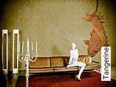 Tangerine-Ornamente-Fische-Moderne-Muster-Rot-Gold-Orange-Creme