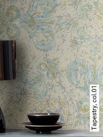 Tapestry,-col.01-Kreise-Ornamente-Paisley-Großmotiv-FotoTapeten-Grau-Creme-Hellblau-Hellbraun