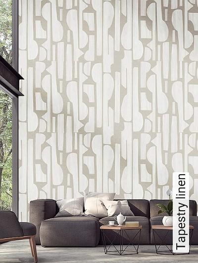 Tapestry-linen-Graphisch-FotoTapeten-Grafische-Muster-Weiß-Creme