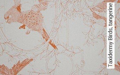 Taxidermy-Birds,-tangerine-Blätter-Vögel-Fauna-Moderne-Muster-Orange-Weiß