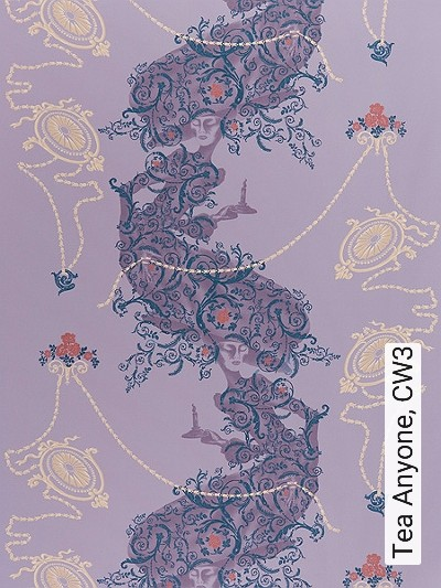 Tea-Anyone,-CW3-Ornamente-Figuren-Moderne-Muster-Blau-Lila-Creme-Flieder